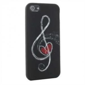 Premium Quality TPU Silikon Hülle für Apple iPhone SE, 5S, 5 - Design: Notenschlüssel Schwarz / Weiß