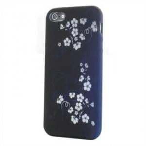 Premium Quality TPU Silikon Hülle Tasche für Apple iPhone SE, 5S, 5 - Design: Blue White Flower