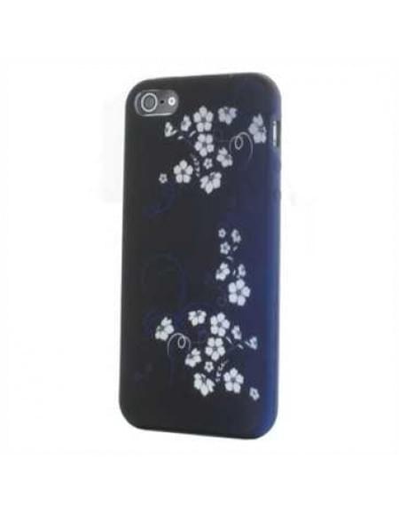 Premium Quality TPU Silikon Hülle Tasche für Apple iPhone SE, 5S, 5 - Design: Blue White Flower
