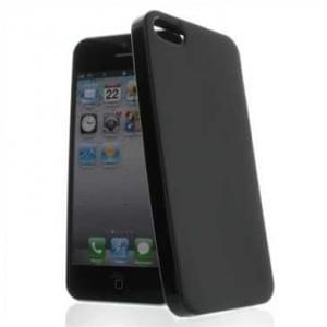 Premium Quality TPU Silikon Hülle Tasche für Apple iPhone SE, 5S, 5 - Schwarz glänzend