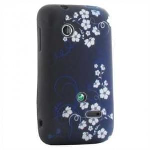 TPU Hülle / Skin für Sony Xperia Tipo - Design: Blue White Flower