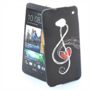 TPU Silicon Tasche Case für HTC One M7 - Design: Notenschlüssel Schwarz/ Weiß