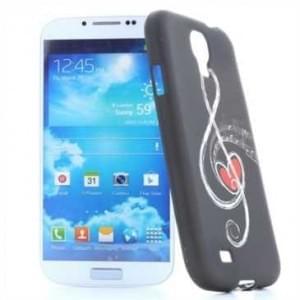 TPU Silicon Tasche Case für Samsung Galaxy S4 Notenschlüssel Schwarz / Weiß