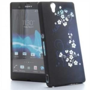 TPU Hülle / Skin für Sony Xperia Z - Design: Blue White Flower