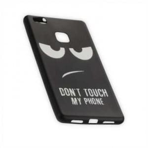 TPU Silikon Hülle Tasche mit Druck Huawei P9 Lite Don t Touch My Phone - schwarz