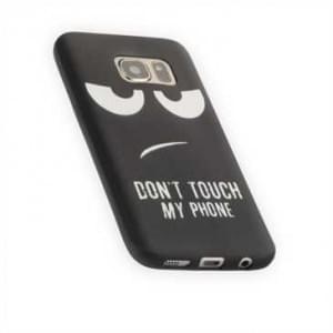 TPU Silikon Hülle Tasche mit Druck Samsung Galaxy S7 Don t Touch My Phone - schwarz