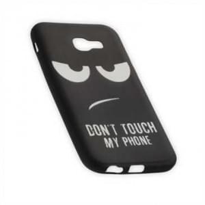 TPU Silikon Hülle Tasche für Samsung Galaxy A3 (2017) mit Druck Don t Touch My Phone - schwarz