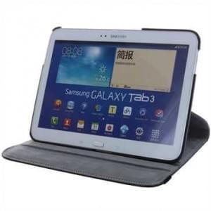 Kunstleder Tablet Tasche - Rotation- für Samsung Galaxy Tab 3 10.1, P5200 P5210 P5220 - Schwarz