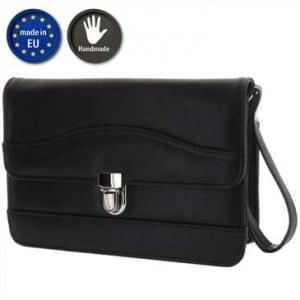 XiRRiX Herren Handtasche aus Kunstleder - Größe: 255 x 170 x 70 mm - Schwarz - Handmade in EU