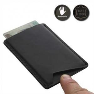 XiRRiX Echt-Leder RFID Blocking Schutzhülle für bis zu 2 Kreditkarten - Schwarz