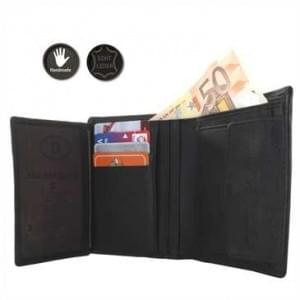 Echt-Leder Geldbörse - handgefertigt für Herren / Portemonnaie im Hochformat / Geldbeutel schwarz