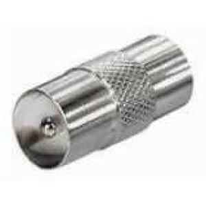 Koaxial IEC Verbinder Stecker / Stecker Vollmetall BK, Stecker-Stecker