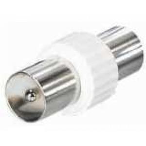 IEC-Koax Antennen Doppelstecker männlich /männlich - weiß