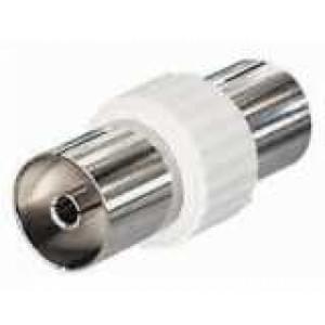 Koax Verbinder IEC, Buchse auf Buchse, Kupplung 9,5 mm auf Kupplung 9,5 mm DIN 45325 - Farbe: weiß