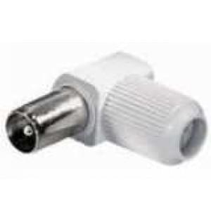 Koaxial Winkelstecker 9,5mm, schraubbar - Schirmungsdämpfung > 75 dB - Farbe: weiß