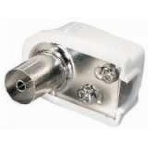 Koaxial Winkelkupplung 9,5mm, 75 Ohm, Schraubanschluss 90°- Miniausführung - weiß