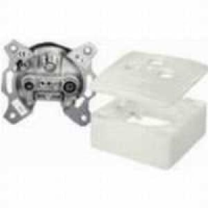 SAT Durchgangsdose 3-fach, 13 dB inklusive Abdeckplatte und Aufputzrahmen