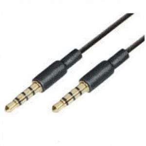 AUX-Audiokabel Stereo 2 x 3,5mm Klinkenstecker 4 pol. - goldfarbene Kontakte - 1,5 m - Schwarz