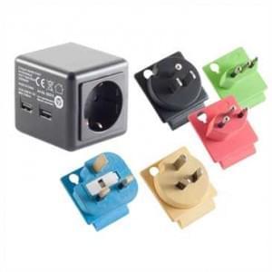Reisestecker, Schutzklasse 1 (mit Schutzkontakt), Adapter 5in1, farbliche Kennzeichnung aller Länder