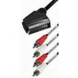Videokabel Scartstecker 21-polig > 4 Cinchstecker (Audio) - Länge: 2m - schwarz