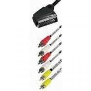 Videokabel Scartstecker 21polig > 6 Cinchstecker (Stereo): 2 m- schwarz