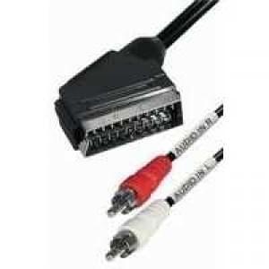 Audio Videokabel Scart-Stecker > 2 Cinch Stecker Stereo - Länge: 2 m