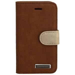 COMMANDER Premium Tasche BOOK CASE ELITE für iPhone 4 / 4S - Wrinkle Brown
