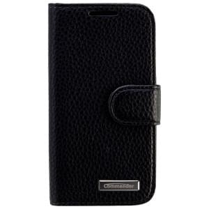 COMMANDER Premium Tasche BOOK CASE ELITE für Samsung Galaxy S4 Mini - Leather Black