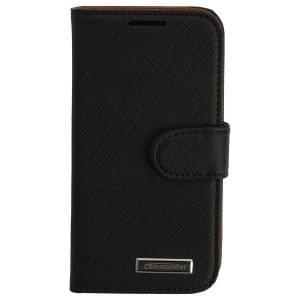 COMMANDER Premium Handytasche BOOK CASE ELITE für Samsung Galaxy S4 Mini - Cross Leather Black