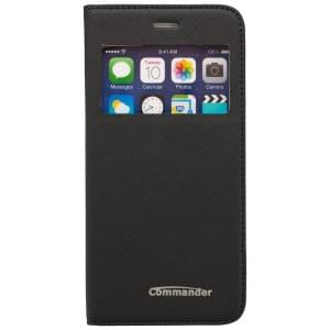 COMMANDER Premium Handytasche WINDOW für Apple iPhone 6 / 6S - Cross Leather Black