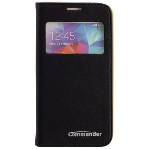 COMMANDER Premium Tasche WINDOW für Samsung Galaxy S5 Mini - Cross Leather Black