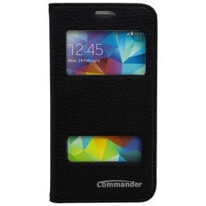 COMMANDER Premium Tasche DOUBLE WINDOW für Samsung Galaxy S5 Mini - Leather Black