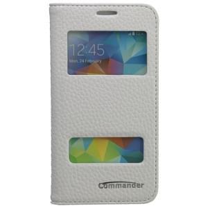 COMMANDER Premium Tasche DOUBLE WINDOW für Samsung Galaxy S5 Mini - Leather White