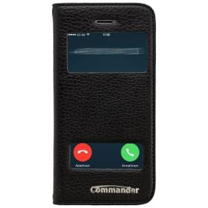 COMMANDER Premium Handytasche DOUBLE WINDOW für Apple iPhone 5/ 5S - Leather Black