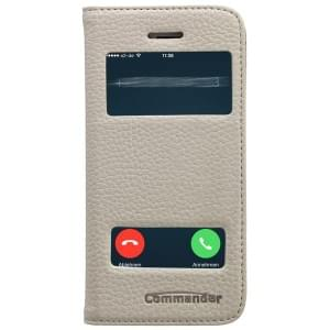 COMMANDER Premium Handytasche DOUBLE WINDOW für Apple iPhone 5/ 5S - Leather White