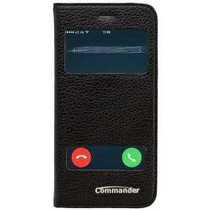 COMMANDER Premium Handytasche DOUBLE WINDOW für Apple iPhone 6 / 6S - Leather Black