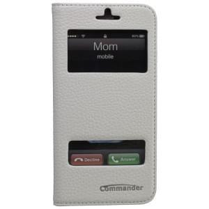 COMMANDER Premium Tasche DOUBLE WINDOW für Apple iPhone 6 / 6S - Leather White