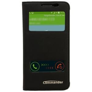 COMMANDER Premium Tasche DOUBLE WINDOW für Samsung Galaxy Alpha - Cross Leather Black