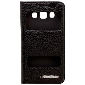 COMMANDER Premium Tasche DOUBLE WINDOW für Samsung Galaxy A3 - Leather Black