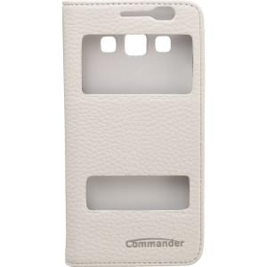 COMMANDER Premium Tasche DOUBLE WINDOW für Samsung Galaxy A3 - Leather White