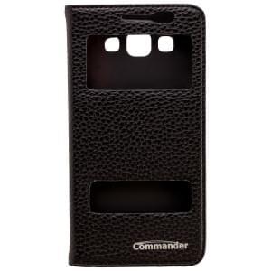 COMMANDER Premium Tasche DOUBLE WINDOW für Samsung Galaxy A5 - Leather Black