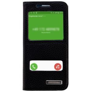 COMMANDER Premium Handytasche DOUBLE WINDOW für Samsung Galaxy S6 - Leather Black