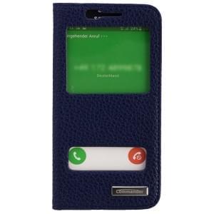 COMMANDER Premium Tasche DOUBLE WINDOW für Samsung Galaxy S6 - Leather Blue