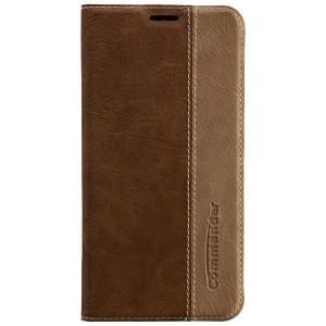 COMMANDER Premium Tasche BOOK CASE für Samsung Galaxy S6 Edge - Gentle Brown