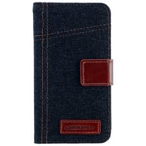 COMMANDER Premium Tasche BOOK CASE ELITE Jeans für Samsung Galaxy S5