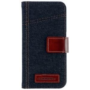 COMMANDER Premium Tasche BOOK CASE ELITE Jeans für Samsung Galaxy S6