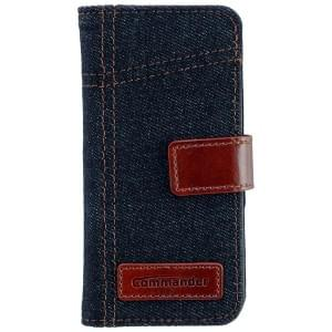 COMMANDER Premium Handytasche BOOK CASE ELITE Jeans für Apple iPhone 5 / 5S / SE