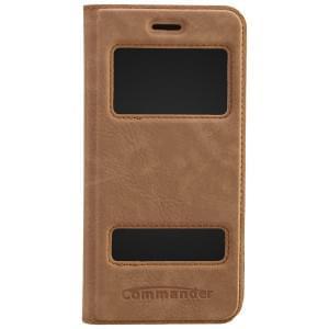 COMMANDER Premium Handytasche DOUBLE WINDOW für Apple iPhone 6 / 6S - Nubuk Brown