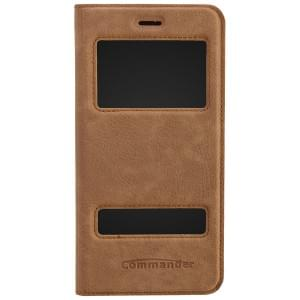COMMANDER Premium Handytasche DOUBLE WINDOW für Apple iPhone 6S Plus - Nubuk Brown