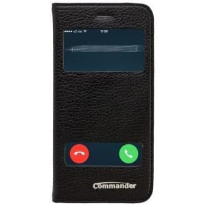 COMMANDER Premium Tasche DOUBLE WINDOW für Apple iPhone 6S - Black